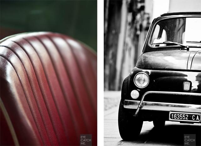 Fotos der Sitzbank und der Front des Fiat 500 als Diptych