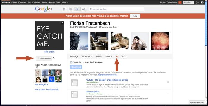 Email Funktion bei Google+ aktivieren