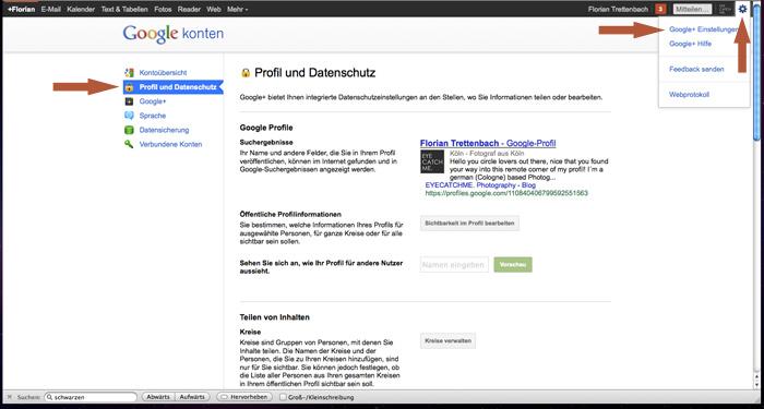 Übersichtiliche Google+ Datenschutzeinstellungen