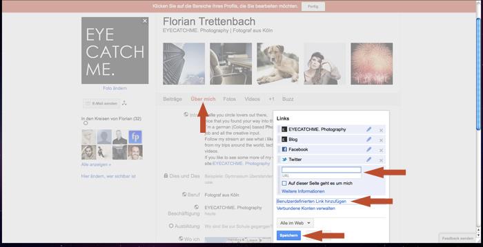 Bei Google+ eigene Links hinzufügen