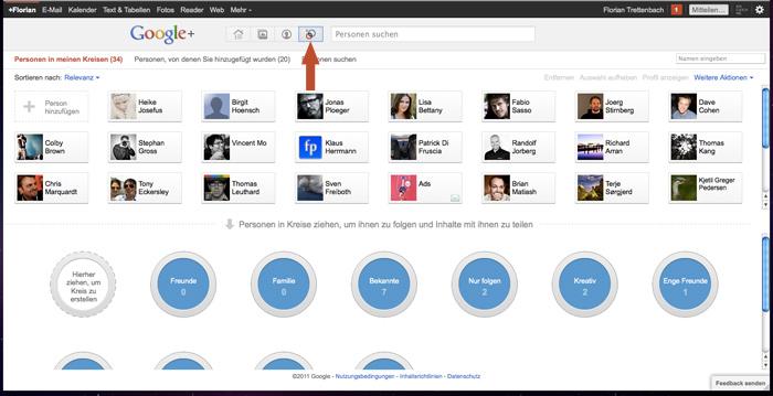Das Menü Kreise bei Google+