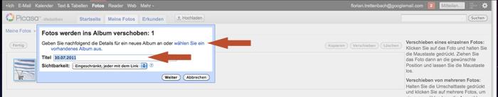 Erstellen eines neuen Ordners für Google+ Fotos