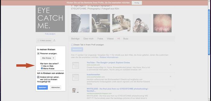 privatsphäre bei google+ einstellen