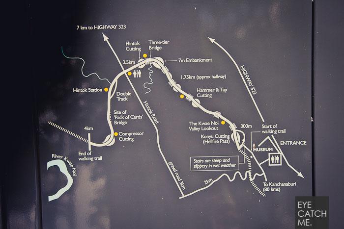 Dieses Foto zeigt eine Karte des Rndgangs am Hellfire Pass, der Fotograf aus Köln hat das Foto bei seiner Reise nach Thailnad gemacht