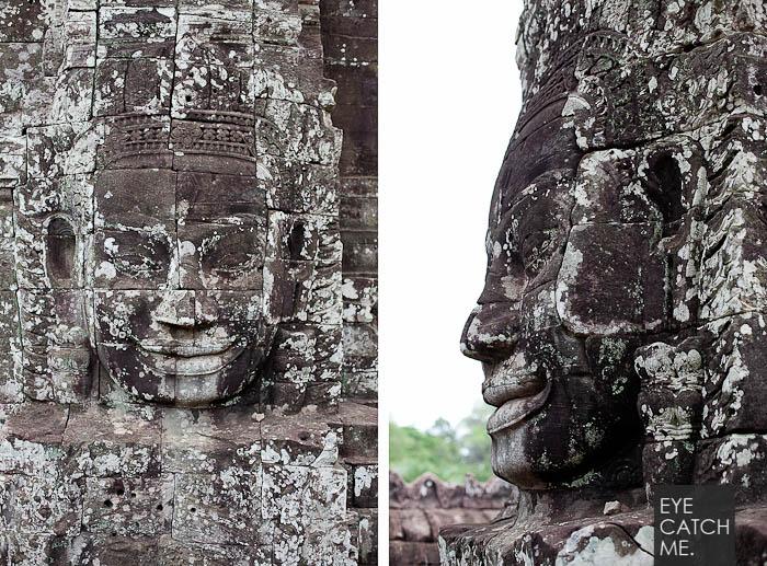 Die großen Gesichter sind typisch für die Tempelanlagen von Angkor, der Portrait Fotograf aus Köln hat hier frontales mit einem Profil Portrait Foto kombiniert